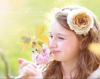 Beige Ranunculus Headband, photo prop, Newborn, toddler, adult