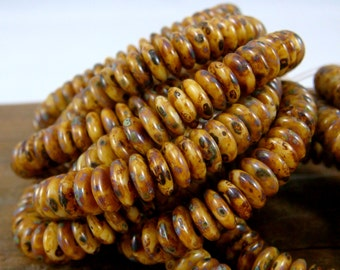 Czech Beads, 6x2mm Rondelle, Czech Glass Beads - Rustic Brown Picasso Mini Rondelle Spacer Bead (RD6/RJ-2678) - Qty. 50