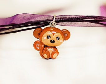 monkey necklace - polymer clay