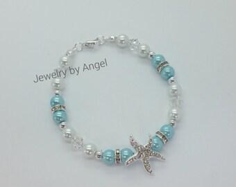 Turquoise Pearl Rhinestone Starfish Bracelet  Bridal Wedding Jewelry Bridal Shower Gift Flower Girl