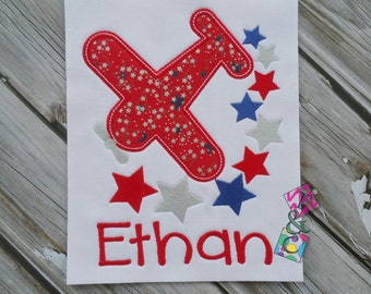 Airplane 4th of July Shirt - Kids Applique Embroidery - Airplane - Kids Shirt - Red White and Blue