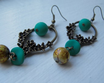 Bronze green and yellow earrings