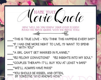 Bridal Shower Printable Game Love Quotes from Chick Flick Movies - Instant Download - from the NORTH
