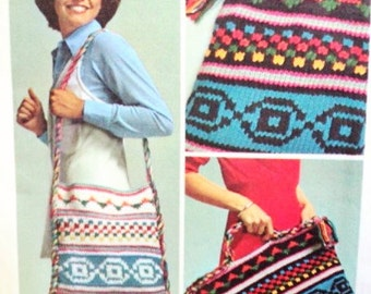 70s SIMPLICITY 6068 Knitting Pattern BoHo Colorful Retro Bohemian Shoulder Purse Bag Tote and Knitting Bag Vintage Sewing Pattern