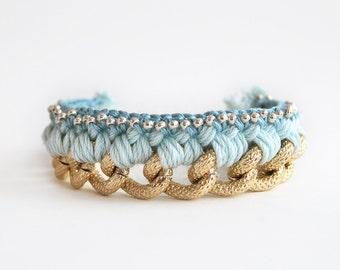 Mint bracelet with chunky chain, boho woven chain bracelet, mint chunky bracelet, statement bracelet