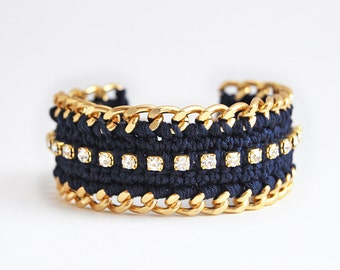 Navy blue bracelet, crochet bracelet with rhinestones, chunky chain bracelet, wide statement bracelet