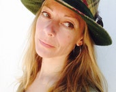 Unisex Green Check Donegal Tweed Boho Hat with Cocque Feather Pin