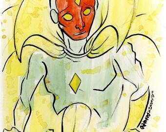 The Vision, Marvel Comics, Small Ink & Watercolor Original Drawing