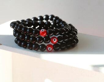 Mens Gem stone Bracelet with Evil Eye Accent - Mens Bracelets - Beaded mens Bracelet