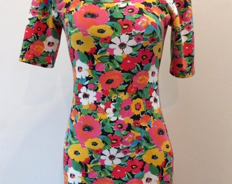 Vintage 1990's floral bodycon tight stretchy Express Tricot dress M 7/8