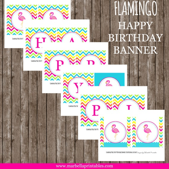 Instant Download Flamingo/Pool/Summer Happy Birthday BANNER By