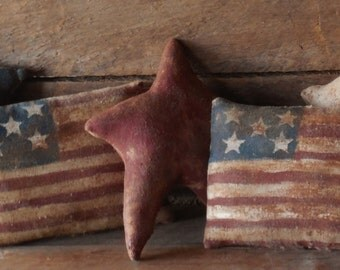 Primitive Grungy Americana Flag and Star Bowl Fillers/Tucks