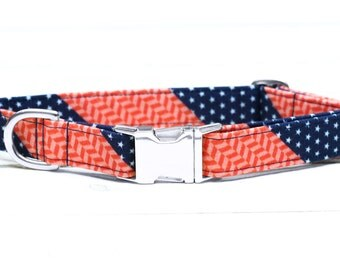 4th of July Dog Collar,  Red, White and Blue Stars, Patriotic, Fourth of July, Metallic Gold, Silver, Pet Collar with Metal Buckle
