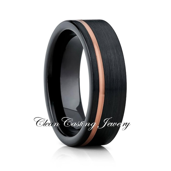 Black Tungsten Wedding BandRose Gold By CleanCastingJewelry