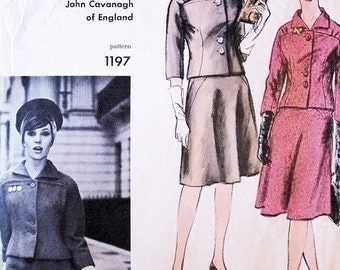 60s JOHN CAVANAGH Classy Suit Pattern Vogue Couturier Design 1197 Fitted Jacket Flared Skirt Shaped Panel Bust 36 Vintage Sewing Pattern