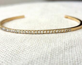 Diamond cuff bracelet-pave diamond cuff bracelet-infinity cuff bracelet-14k gold diamond bracelet-pave diamond bracelet- bracelet