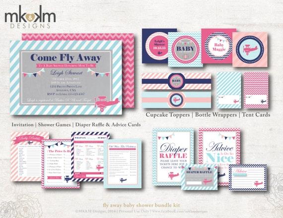 travel baby shower bundle kit, vintage airplane baby shower, girl, Baby shower invitations