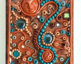 Altered Journal/Notebook      Polymer Clay Cover   OOAK
