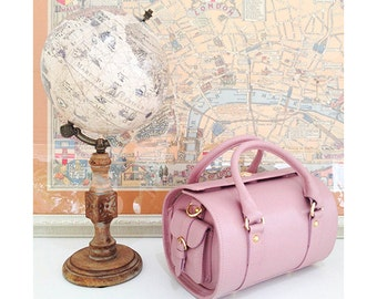 "SALE Luxury Pastel Pink Leather Doctor's Bag ""Treasure Box"""