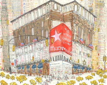 MACYS NEW YORK Herald Square Nyc, New York City Print from Watercolour Painting & Drawing by Clare Caulfield, New York City Taxi, Manhattan