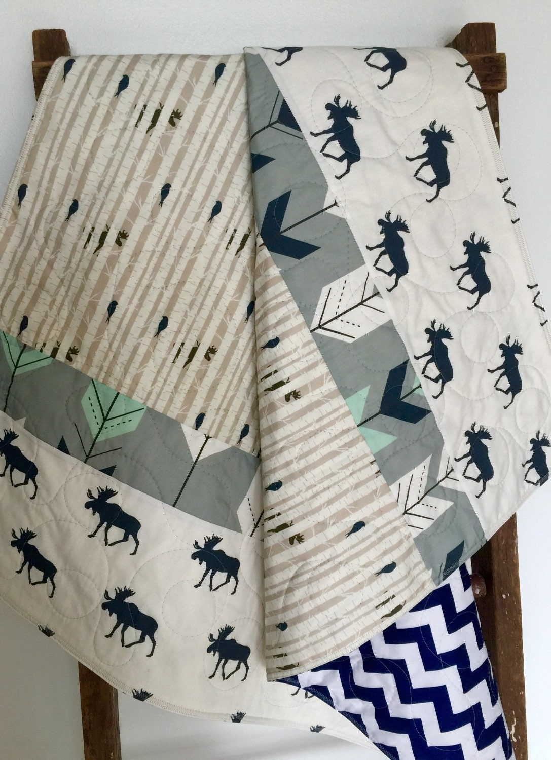 Baby Quilt Gender Neutral Woodland Baby Bedding Moose Crib