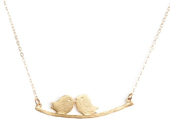 Gold Love Bird Necklace, Anniversary Necklace, love sparrows, Gold Bird Necklace, Bird Pendant, valentines day gift, anniversary gift