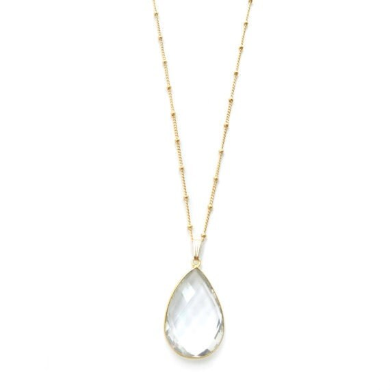 Long Gold Necklace, Pendant Necklace, Clear Quartz Teardrop, Satellite Necklace, Satellite Chain, Gold Filled Chain, Dainty Gold Necklace