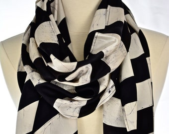 Silk scarf.Hand made black & White scarf.Batik scarf.long neck scarf.Stripe scarf