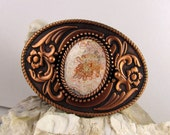 Western Belt Buckle - Natural Stone Belt Buckle - Boho Belt Buckle - Copper Tone & Black Belt Buckle with a Natural Mexican Crazy Lace Agate