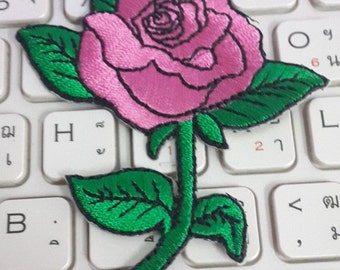 Rose Iron on Patch - Pink Rose Applique Embroidered Iron on Patch