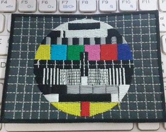 TV Test Pattern Iron on Patch - TV Test Pattern Applique Embroidered Iron on Patch
