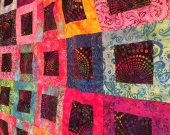 Rainbow Batik Quilt Top 40x46
