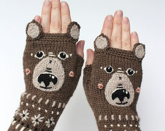 Knitted Fingerless Gloves, Teddy Bear, Clothing And Accessories, Gloves & Mittens, Gift Ideas, For Her,Brown,Accessories, READY TO SHIP,