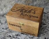 Recipe Box - Personalized Recipe Box - Housewarming Gift - Wedding Shower Decor - Wood Recipe Box - Mothers Day Gift - Christmas Gift