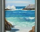 Waves in Pacific Grove - plein air seascape 9x11 original oil painting framed