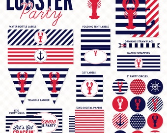 Nautical Lobster Party Printable Pack DIY Party Lobster Bake Party INSTANT DOWNLOAD