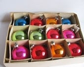 12 Vintage Glass Ball Christmas Ornaments - full set in original box - Made in West Germany in 1950s or 1960s - Red, Green, Gold, Pink, Blue