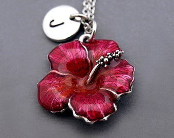Hibiscus necklace, Hibiscus jewelry, Hibiscus charm necklace, antique silver, initial necklace, initial hand stamped, personalized, monogram