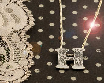 Pendant Necklace Initial Sterling Silver Letter Alphabet textured lace pattern Hand cut, jewelery