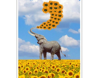 Sunflower Elephant art print, Colorful air balloon, elephant painting Print poster, Dorm decor, Home Wall decor,gift poster, sunflower print