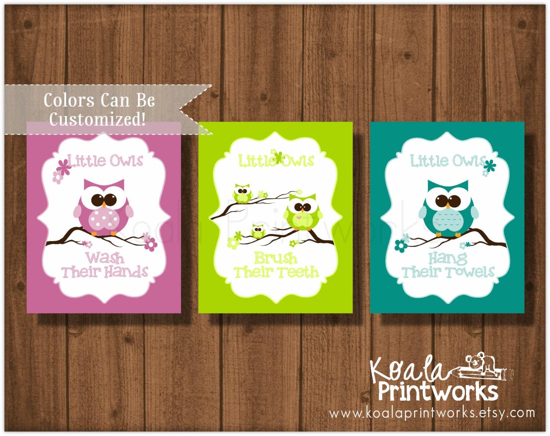 Owl Bathroom Art Print Set Owl Trio Kids By Koalaprintworks