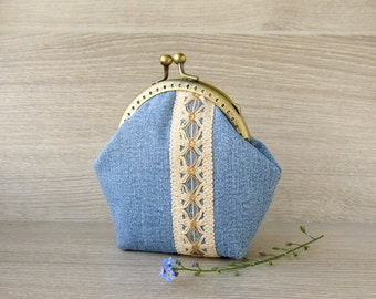 Coin purse denim, blue jeans purse with  beige cotton lace and kisslock frame