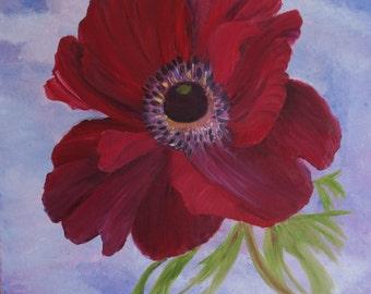 anemone painting, flower painting,burgundy anemone, original painting, fine art