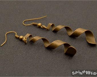 Helix Earrings - steampunk, bronze, metal, handmade