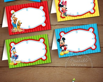 BLANK FOOD TENTS, Mickey Mouse Clubhouse Food Tents, Mickey Mouse Clubhouse Place Cards