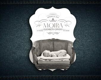 5x7 custom ornate birth announcement