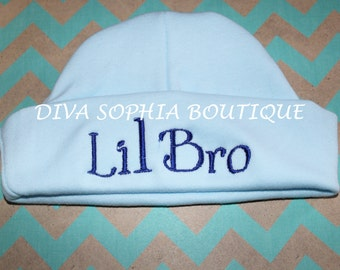 Lil Bro Personalized Baby Hat - Monogrammed Baby Beanie Hat