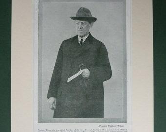 Antique Political Print of Woodrow Wilson Politics Wall Art United States President Portrait Available Framed Democrat Art, Democratic Party