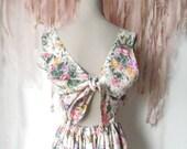 Long boho flower dress, English ( Laura -Ashley like) style, amazing back bow, nineties. EU 36.