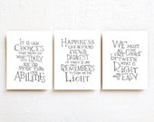 Harry Potter print Albus Dumbledore quotes wall decor - set of 3 posters, typography print, black and white wall art, college dorm decor